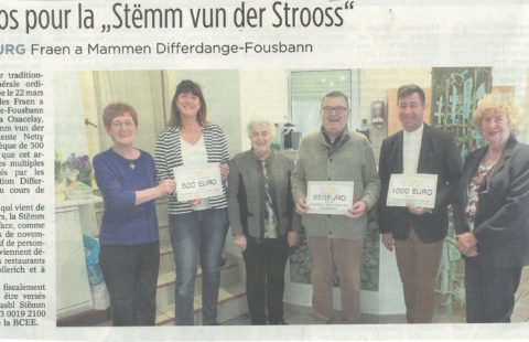 500 euros pour la Stëmm vun der Strooss, paru en avril 2017