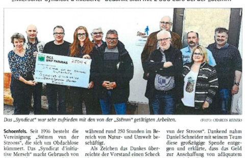 Arbeit wertgeschätzt: Mierscher Syndicat d'initiative bedankt sich mit 2 500 euros bei der Stëmm