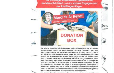 Die Schifflinger Jungsozialisten appellieren an die Menschlichkeit und das soziale Engagement der Schifflinger Bürger