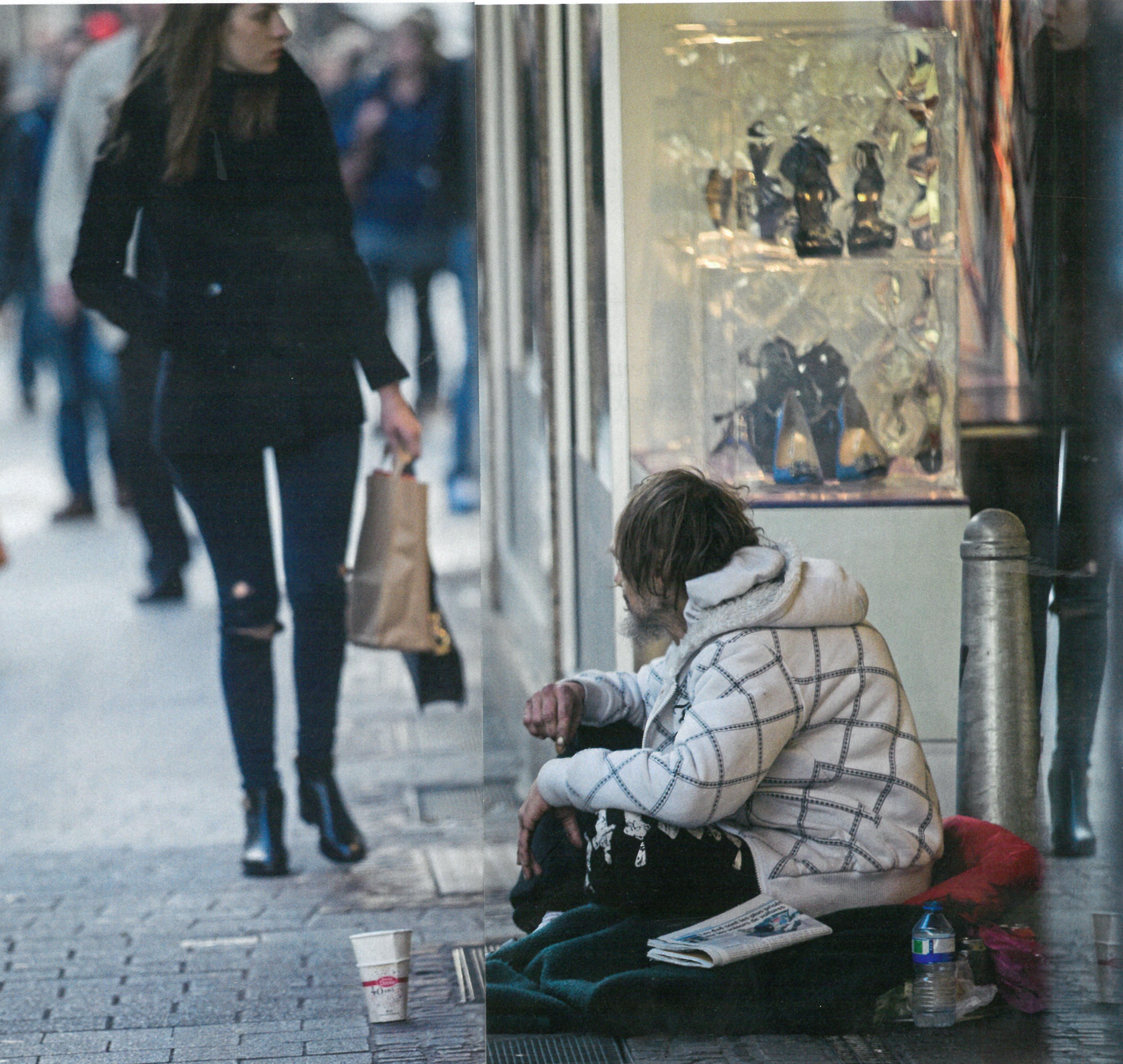 Obdachlos in der Kälte.