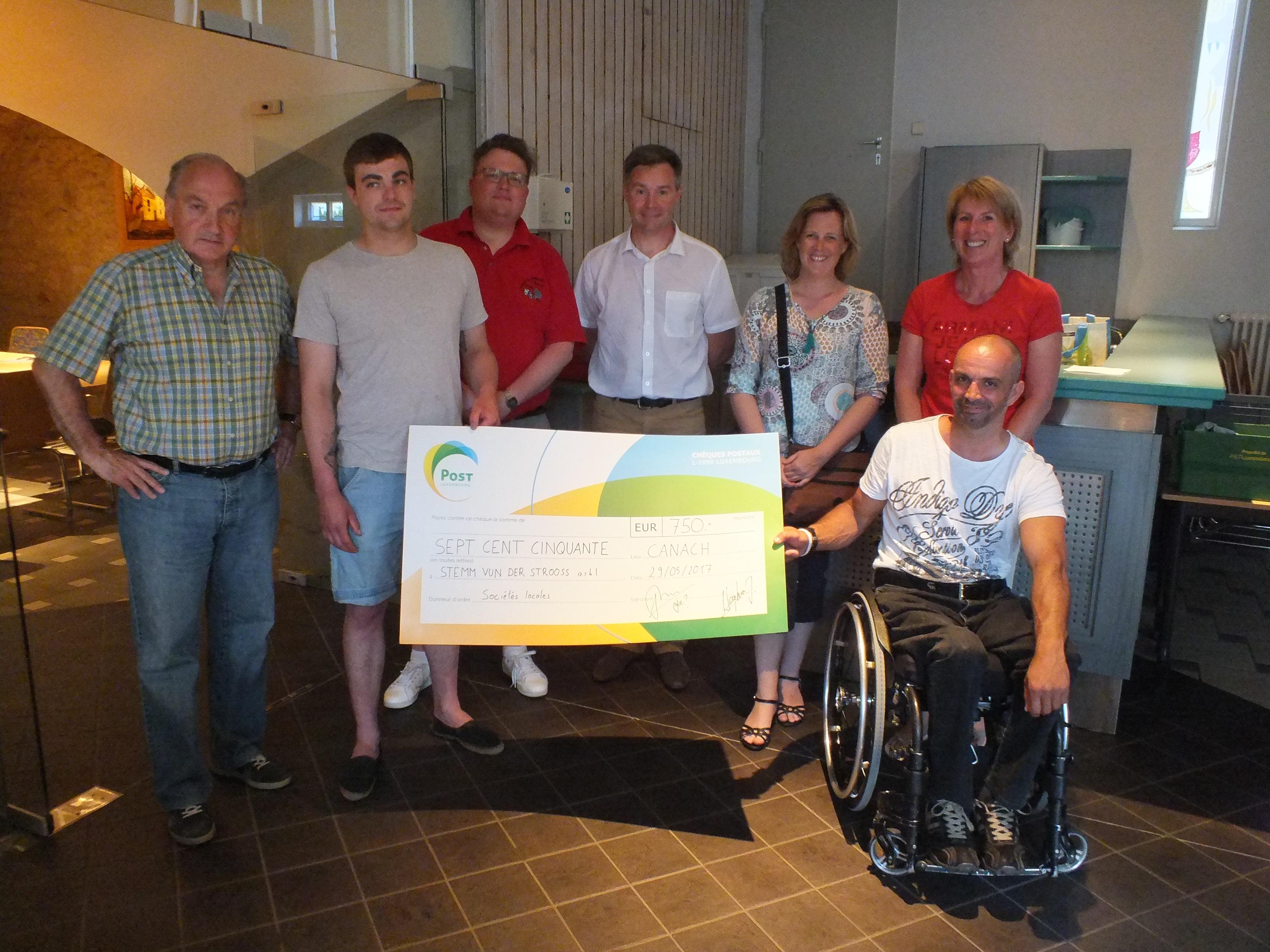 Un grand merci à la commune de Canach pour leur don généreux de 750 Euros.