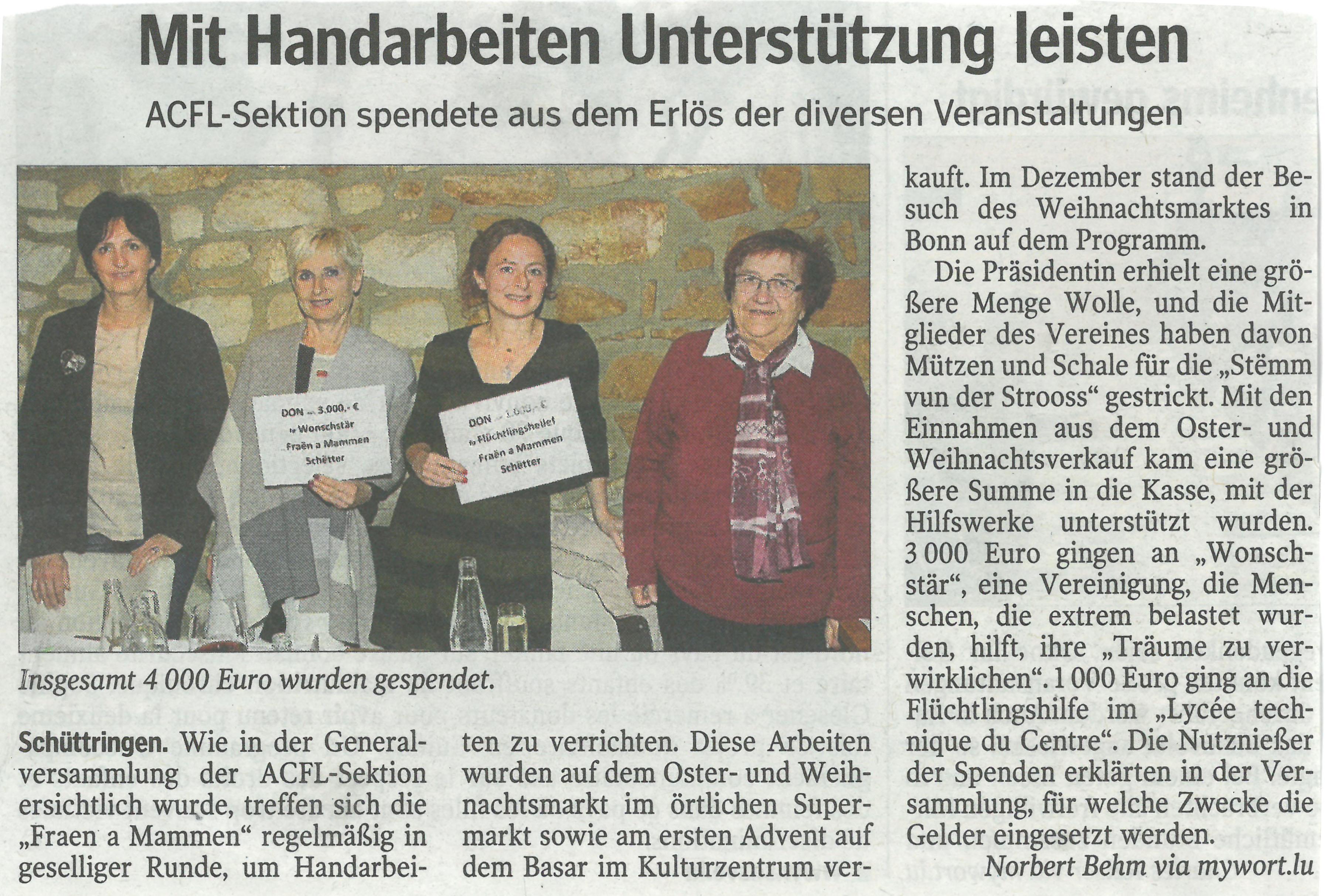 Mit Handarbeiten Unterstützung leisten paru en avril 2017