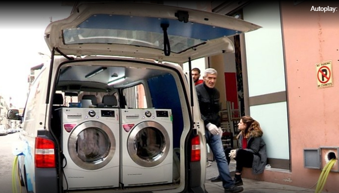 The mobile laundry for homeless people