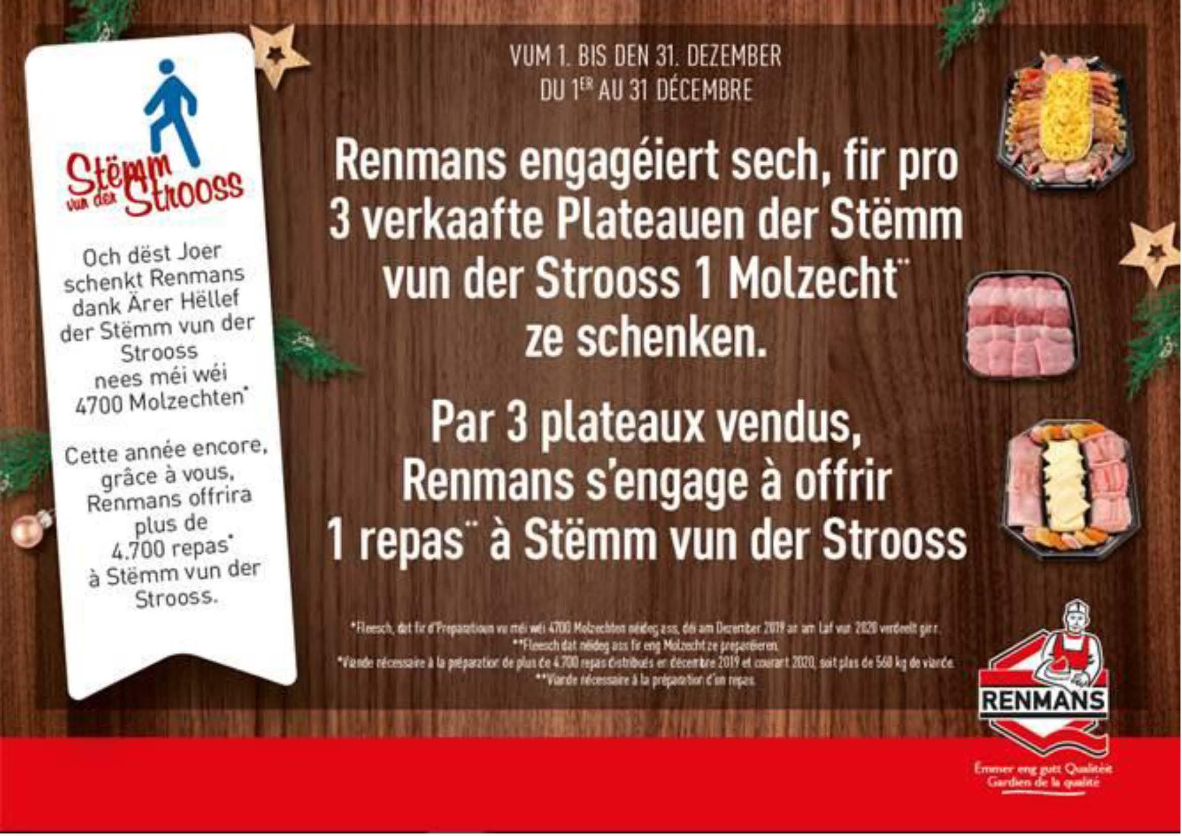 Plus de  4 700 repas offerts par Renmans à la Stëmm vun der Strooss