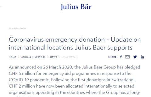Coronavirus emergency donation – Update on international locations Julius Baer supports