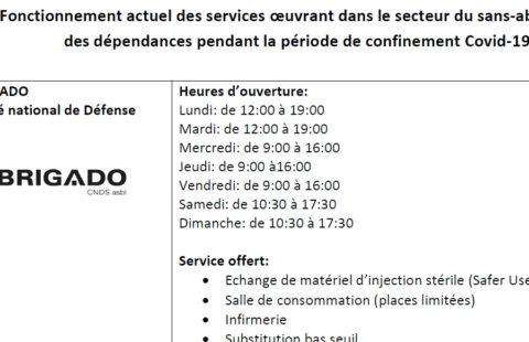 Fonctionnement actuel des services oeuvrant dans le secteur du sans-abrisme et des dépendances pendant la période de confinement Covid-19