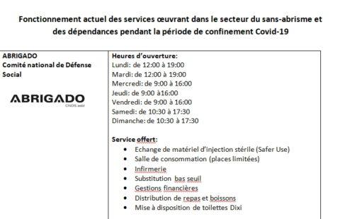 Fonctionnement actuel des services œuvrant dans le secteur du sans-abrisme et des dépendances pendant la période de confinement Covid-19