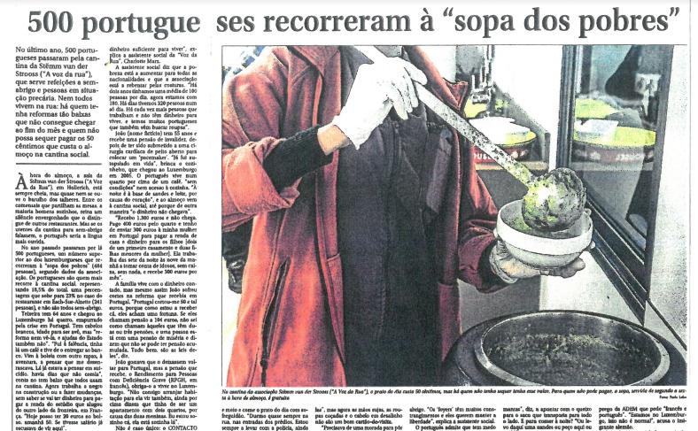 """500 portugueses recorrem à """"sopa dos pobres"""""""