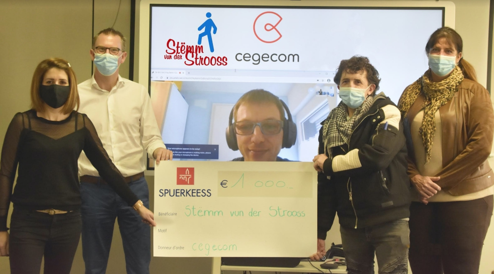 A kind gesture of solidarity : €1,000 from cegecom for Stëmm vun der Strooss