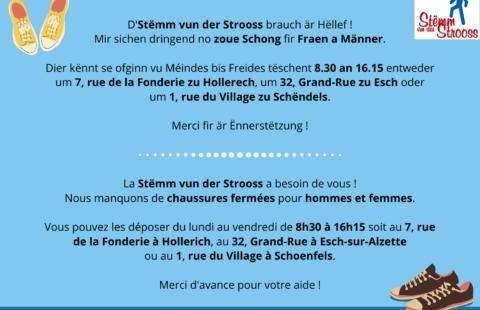 IMPORTANT : Vous pouvez aussi déposer les chaussures au 1, rue du Village à Schoenfels.