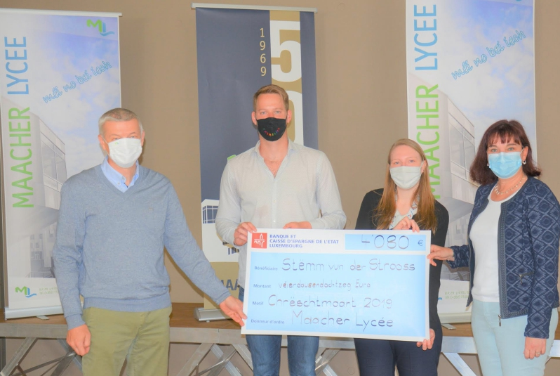 L'Association de bienfaisance du Maacher Lycée (ALYGRE) soutient la Stëmm vun der Strooss
