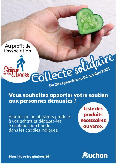 Collecte solidaire du 20 septembre au 02 octobre 2021 en partenariat avec Auchan